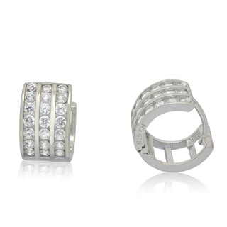 Gioelli Designs Sterling Silver Cubic Zirconia Designer Huggie Earrings