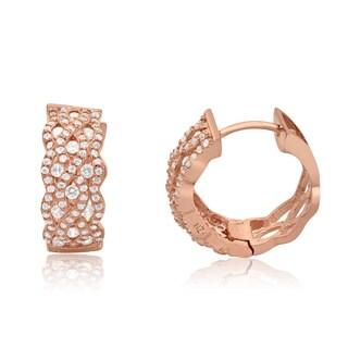 Gioelli Designs Sterling Silver Rose Goldtone Cubic Zirconia Clip-On Earrings