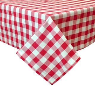 Flame Red and White Checkered Tablecloth