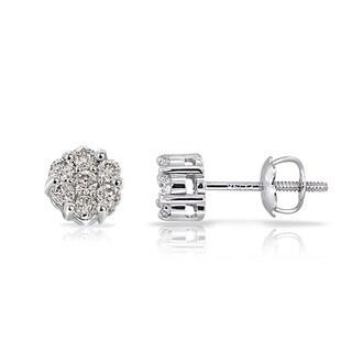 DB Designs 14k White Gold 1/6ct TDW Diamond Cluster Earrings (G-H, I1-I2)