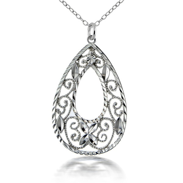 Mondevio Sterling Silver Lace Teardrop Necklace