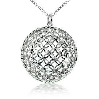 Mondevio Sterling Silver Lace Circle Necklace