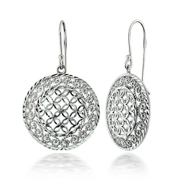 Mondevio Sterling Silver Lace Circle Earrings