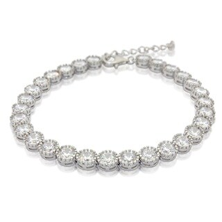 Sterling Silver Round-cut Cubic Zirconia Adjustable Bracelet