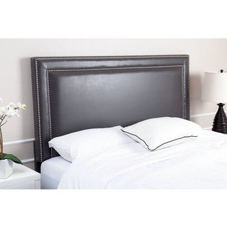 Abbyson Living Tamey Nailhead-trim Grey Leather Headboard