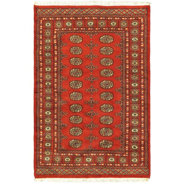 Peshawar Bokhara Red Elephant Foot Hand-knotted Wool Rug (4' x 6'2)