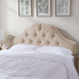 ABBYSON LIVING York Tufted Arch Ivory Velvet Headboard