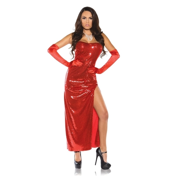 Women's Red Sexy Sequin Dress Costume