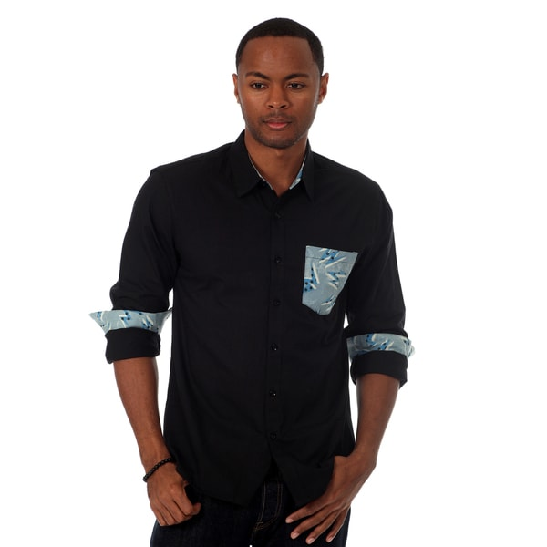 00Nothing Men's Solid Shirt with Contrast Chest Pocket