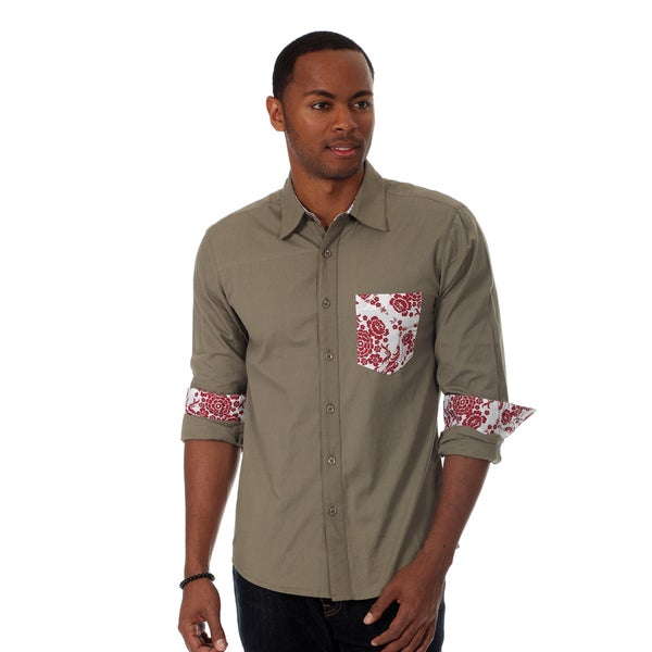 00Nothing Men's Solid Long Sleeve Shirt with Contrast Chest Pocket