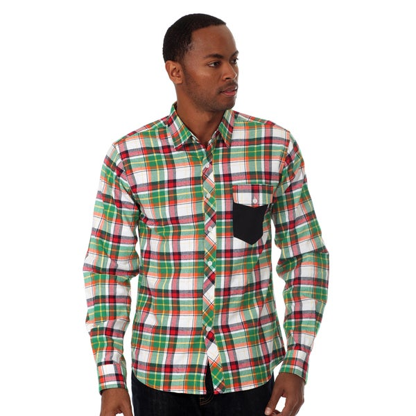 Oxymoron Men's Plaid Long Sleeve shirt in Green Multi