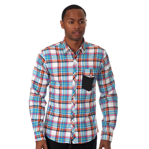 Oxymoron Men's Plaid Long Sleeve Shirt 14831846