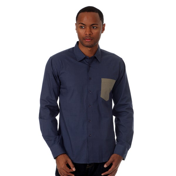 Oxymoron Men's Solid Long Sleeve Woven Shirt in Navy