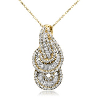 Montebello 14k Yellow Gold 1ct TDW Baguette and Round-cut Diamond Necklace (G-H, VS1-VS2)