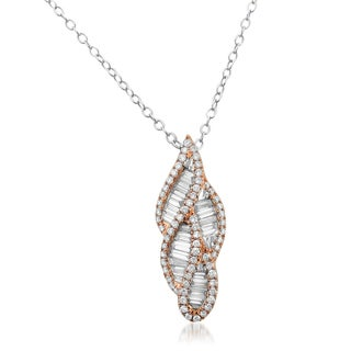 14k Rose Gold 7/8ct TDW Baguette and Round-cut Diamond Necklace (G-H, VS1-VS2)