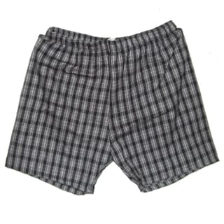 Men's Black and White Plaid Shorts