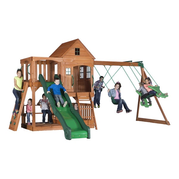 backyard discovery saratoga all cedar swingset