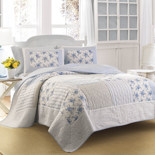 Laura Ashley Seraphina Patchwork Quilt With Sham Separates