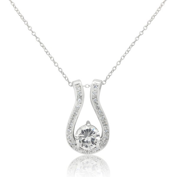 Sterling Silver Cubic Zirconia Horseshoe Pendant Necklace