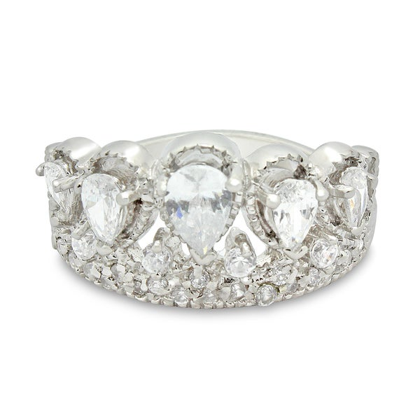 Sterling Silver Cubic Zirconia Stylish Royal Crown Ring