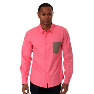 Oxymoron Men's Solid Long Sleeve Woven Shirt in Pink