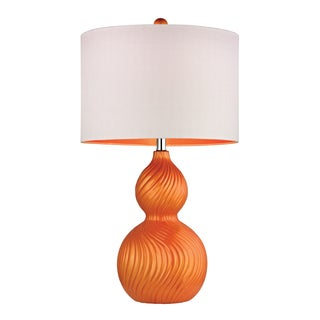 Dimond Carluke Tangerine Orange 1-light Swirled Gourd Ceramic Table Lamp
