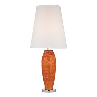 Hawick Tangerine Orange Brick Work 1-light Ceramic Table Lamp
