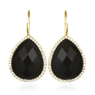Sterling Silver Gold-plated Onyx Teardrop with White Cubic Zirconia Earrings