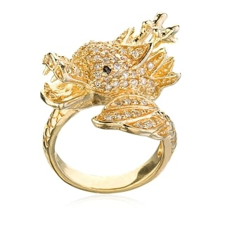 Gold-plated Sterling Silver White Cubic Zirconia Dragon Ring