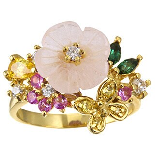 Gold over Silver Floral Six Gemstone Ring