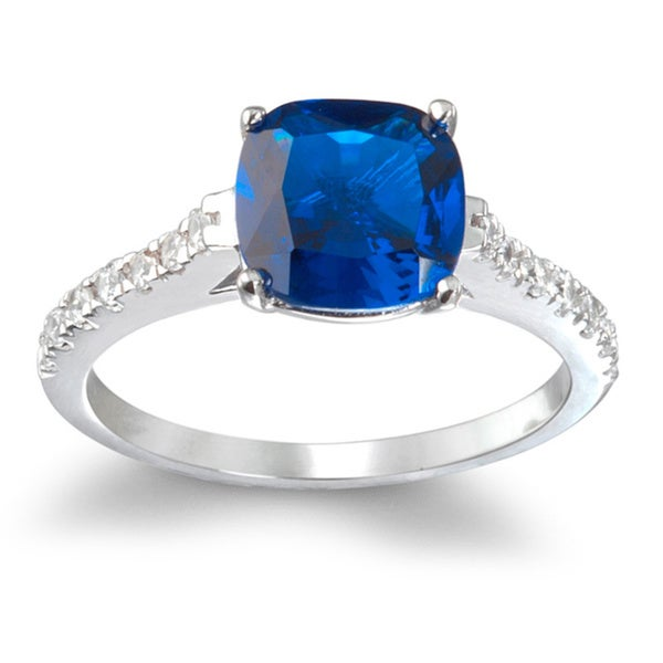 Rhodium-plated Sterling Silver Synthetic Sapphire Ring