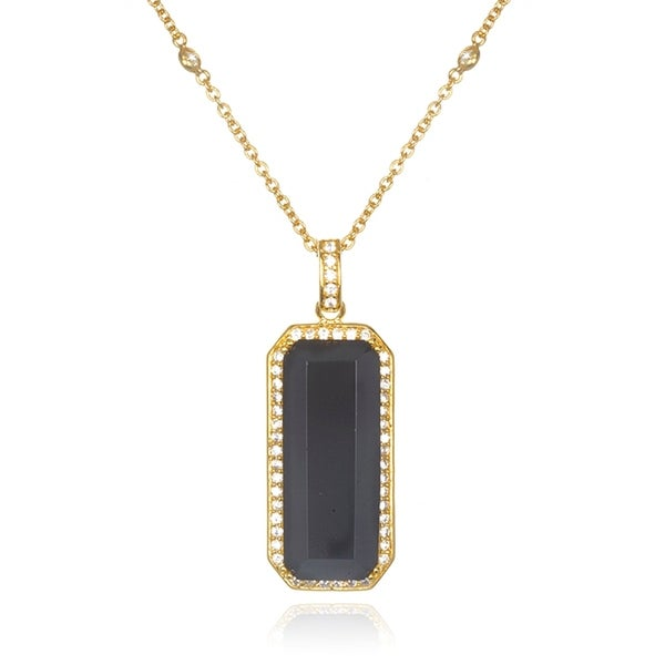 Gold over Silver Oblong Onyx Pendant Necklace