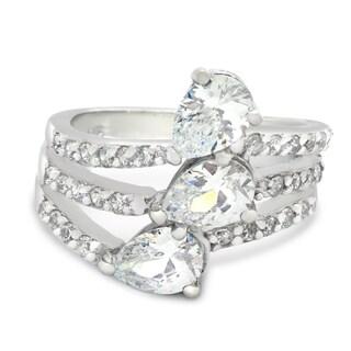 Sterling Silver Three 7x5 Pear-cut Cubic Zirconia Ring