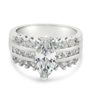 Sterling Silver 12 x 6 Marquise-Cut Cubic Zirconia Three Row Ring