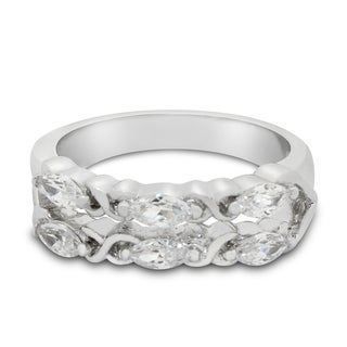 Sterling Silver Marquise-cut Cubic Zirconia Designer Ring