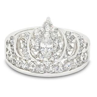Sterling Silver Cubic Zirconia Designer Royal Crown Ring