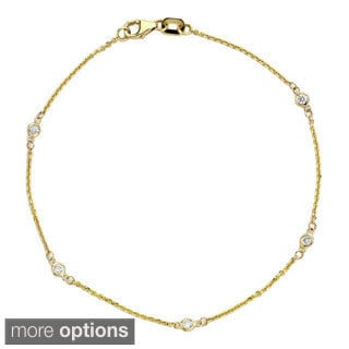 Suzy Levian 14k Gold 1/6ct TDW Diamonds by the yard Bracelet (G-H, SI1-SI2)