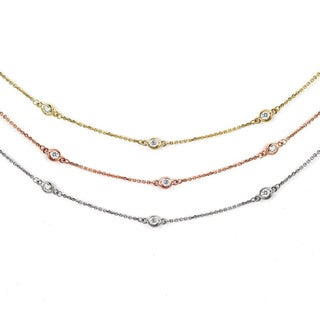Suzy Levian 14k Gold 2/5ct TDW Diamond 18-inch By the Yard Station Necklace