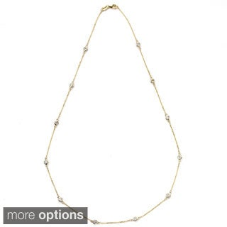 Suzy Levian 14k Gold 2 3/5ct TDW Diamonds by the Yard Station Necklace (G-H, SI1-SI2)