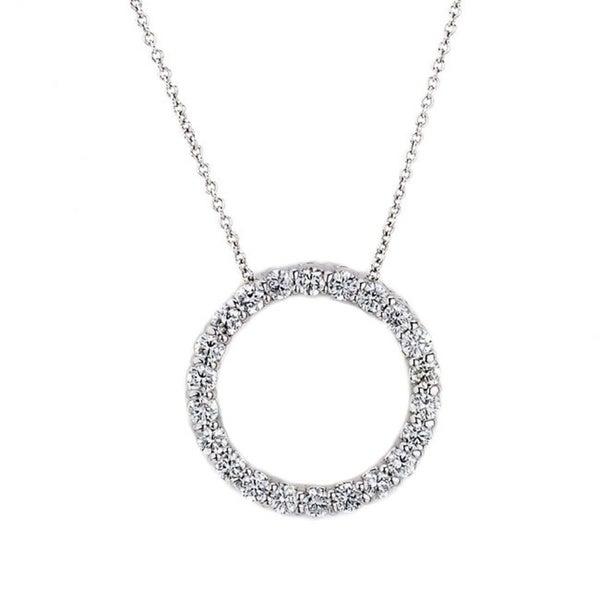 Suzy Levian 14k White Gold 1ct TDW Diamond Circle Pendant (G-H, SI1-SI2)