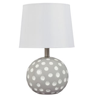 Signature Design by Ashley 1-light Polka-dot Silver Ceramic Table Lamp