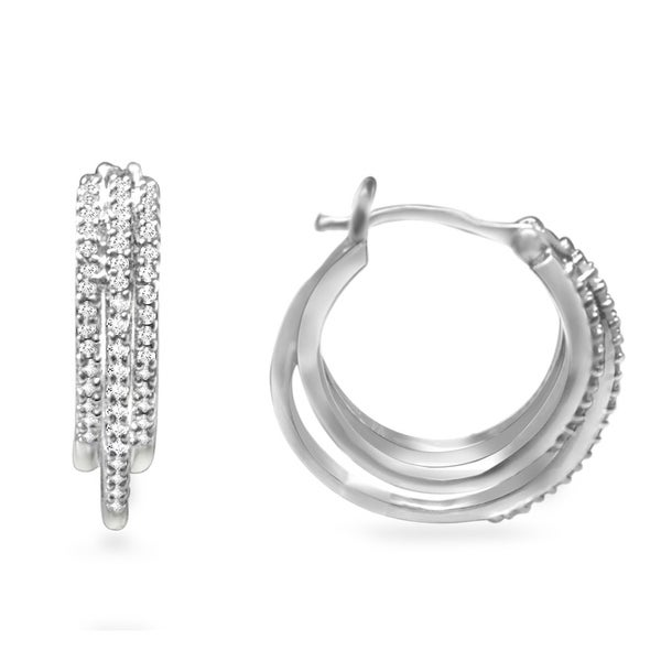 Sterling Silver 1/2ct TDW Diamond Multi Row Hoop Earring (H-I, I2-I3)