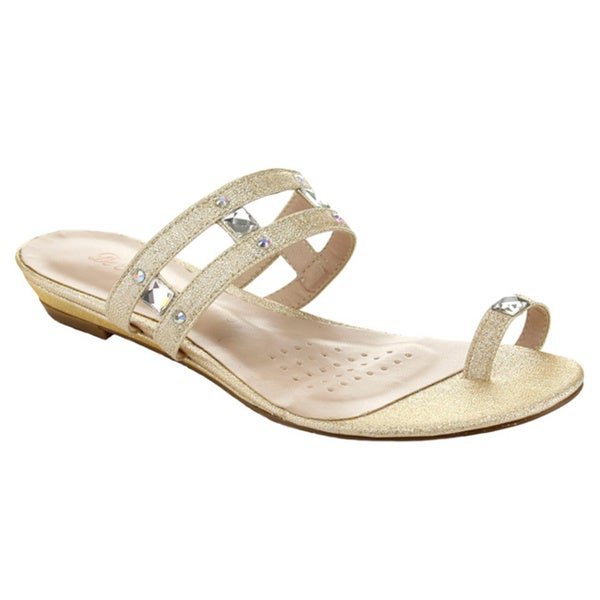 De Blossom Collection Women's MENDY-21 Glitter Toe Ring Rhinestone Sandals
