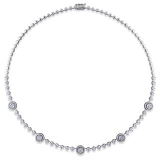 Miadora 18k White Gold 3 1/3ct TDW Diamond Station Necklace (G-H, SI1-SI2)