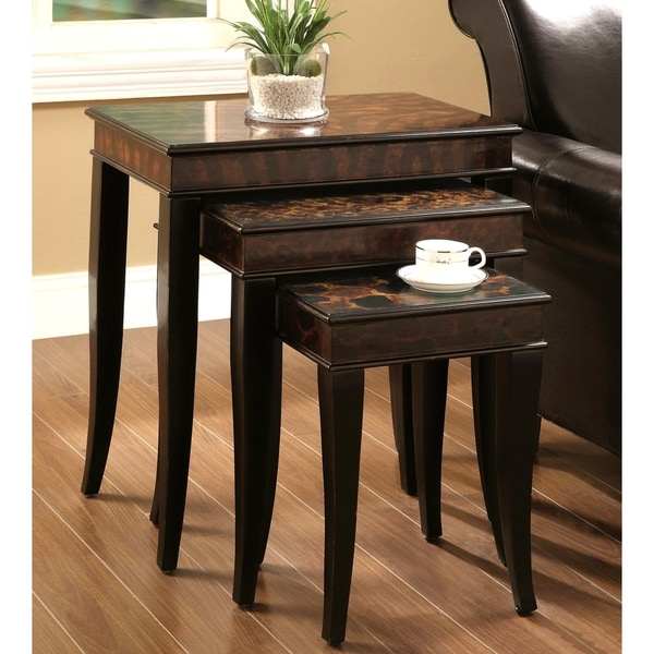 Cappuccino 3-piece Leopard Print Nesting Table Set