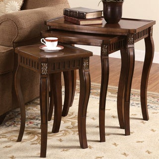 Warm Brown 3-piece Curved Leg Nesting Table Set