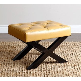ABBYSON LIVING Devona Yellow Leather Bench Ottoman