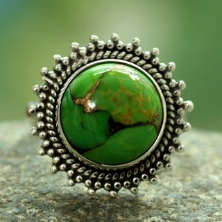 Verdant Promise Round Green Reconstituted Turquoise Gemstone in 925 Sterling Silver Womens Bohemian Statement Ring (India)