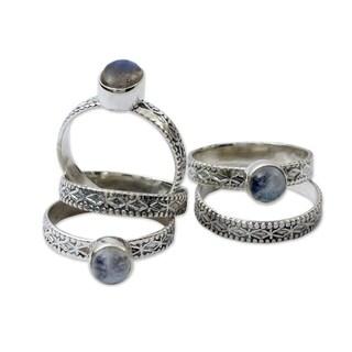 Set of 5 'Love Imagination' Labradorite Moonstone Rings (India)