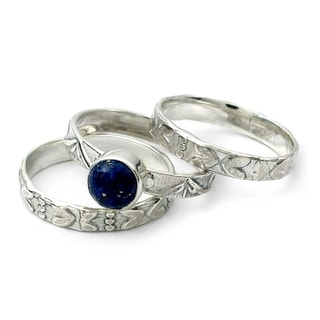 Set of 3 Sterling Silver 'Love Foretold' Lapis Lazuli Rings (India)